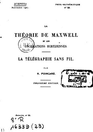 Figure 1: L'ouvrage d'Henri Poincaré susmentionné, édition Scientia 1907.