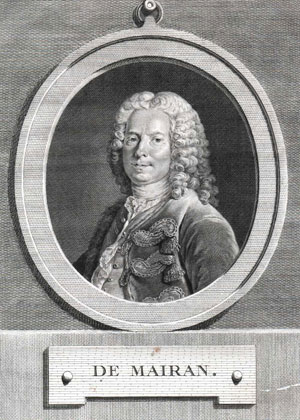 Figure 1 : Jean-Jacques Dortous de Mairan (1678-1771) (portrait par Louis Tocque, 1696-1772, gravure par Pierre-Charles Ingouf, 1746-1800) (Dibner Library of the History of Science and Technology, Smithsonian Institute).