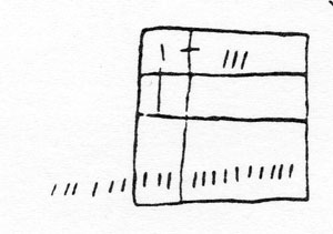 Figure 8 : Rectangle rituel sur un mur de maison bambara. (Banankoroni, Mali). Source : G. Dieterlen (1988), p. 155.
